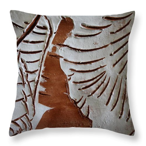 Jesus Throw Pillow featuring the ceramic art Souls Window - Tile by Gloria Ssali