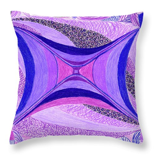Abstract Throw Pillow featuring the drawing Soulviolet by Kim Sy Ok