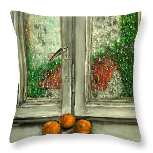 Rain Throw Pillow featuring the painting Sound Of Rain Oil Painting by Natalja Picugina