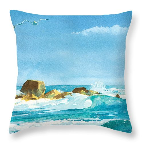 Waves Throw Pillow featuring the painting Sound Of Surf by Ray Cole