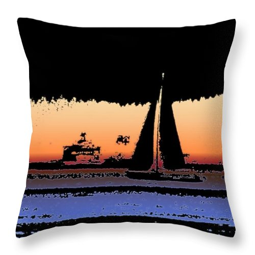 Seattle Throw Pillow featuring the photograph Sound Sailin 2 by Tim Allen