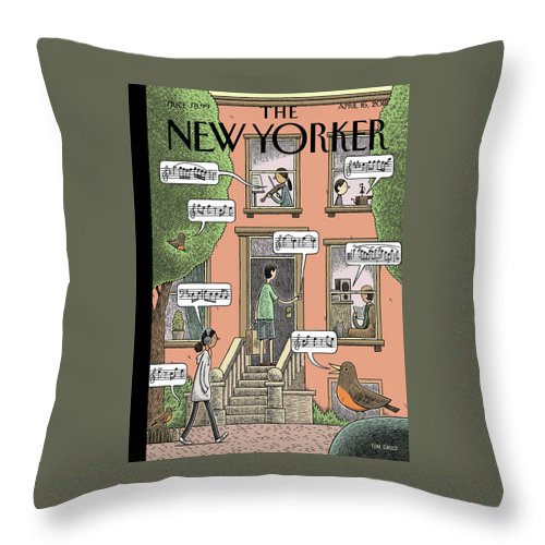 Soundtrack To Spring Throw Pillow featuring the drawing Soundtrack To Spring by Tom Gauld