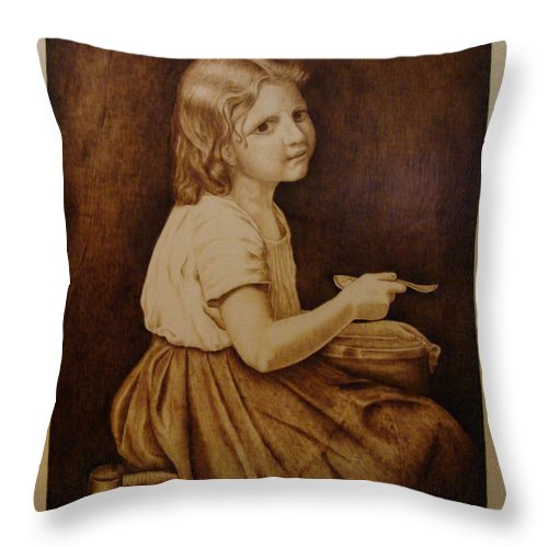 Portrait; Soup; Stool; Spoon; Sepia; Skirt; Throw Pillow featuring the pyrography Soup by Jo Schwartz