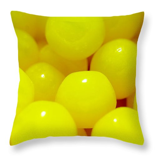 Candies Throw Pillow featuring the photograph Sour Lemon Candies by Kevin Gallagher