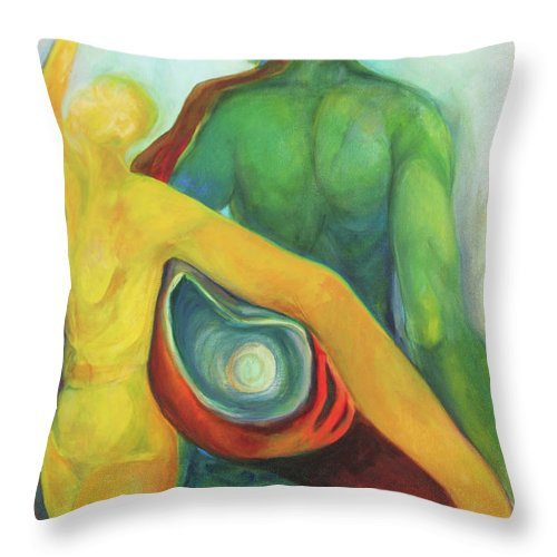 Oil Painting Throw Pillow featuring the painting Source Keepers by Daun Soden-Greene