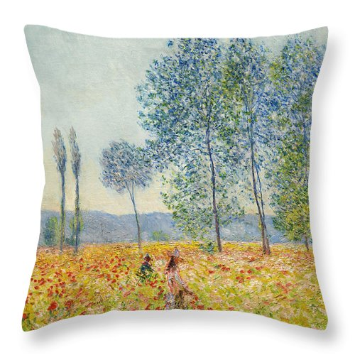 Claude Monet Throw Pillow featuring the painting Sous Les Peupliers by Claude Monet