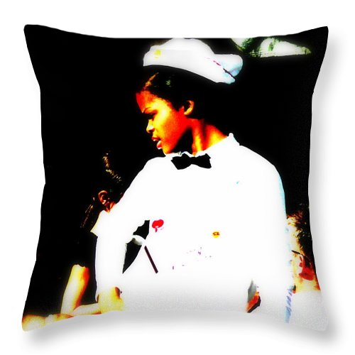 Waitress Throw Pillow featuring the photograph South Beach Waitress Attitude by Funkpix Photo Hunter