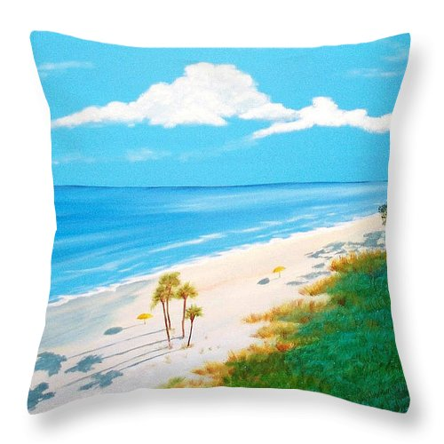 Beach Throw Pillow featuring the painting South Carolina Beach by Nancy Nuce