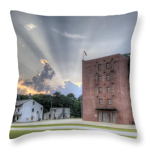 Fire Academy Throw Pillow featuring the photograph South Carolina Fire Academy Tower by Dustin K Ryan