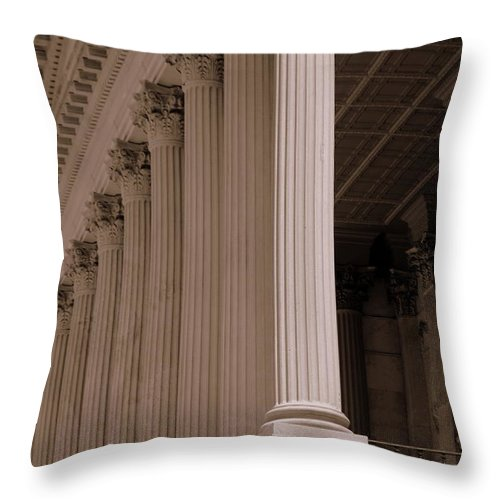 South Carolina State House Throw Pillow featuring the photograph South Carolina State House Columns by Lisa Wooten