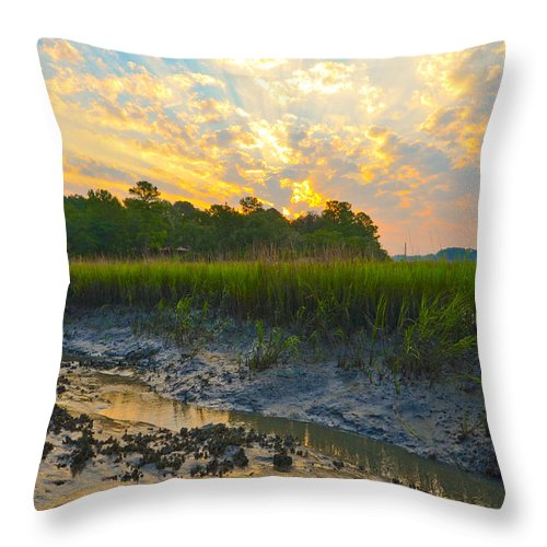 River Throw Pillow featuring the photograph South Carolina Summer Sunrise by Margaret Palmer