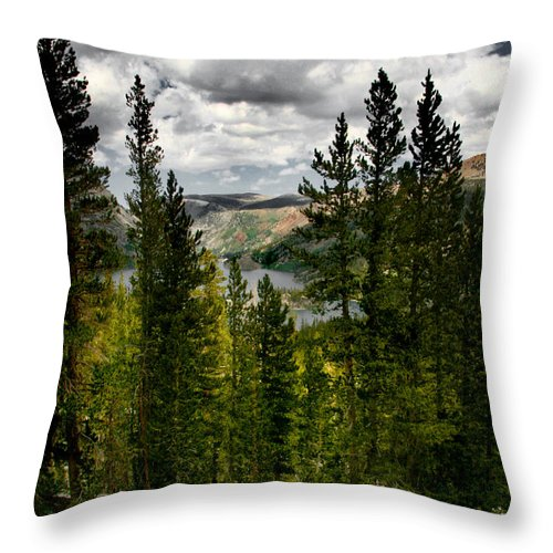 South Lake Through The Pines Throw Pillow featuring the photograph South Lake Through The Pines by Chris Brannen