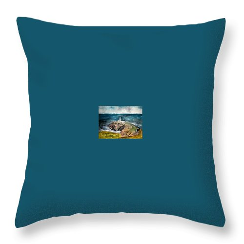 South Stack Lighthouse Throw Pillow featuring the painting South Stack Lighthouse by Derek Mccrea