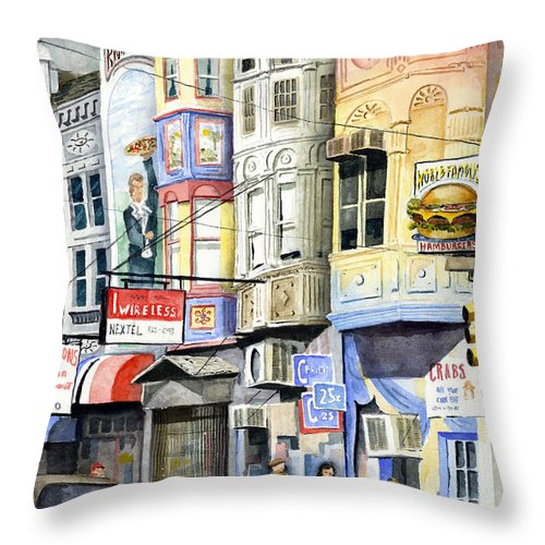 Street Throw Pillow featuring the painting South Street by Sam Sidders