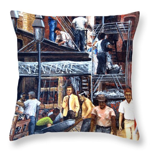 People Throw Pillow featuring the painting South Street Seaport by Leonardo Ruggieri