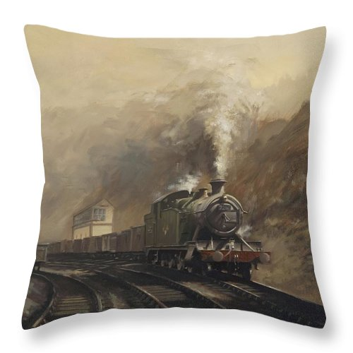 Steam Throw Pillow featuring the painting South Wales Coal Train by Richard Picton