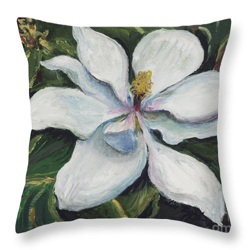 Green Throw Pillow featuring the painting Southern Beauty by Nadine Rippelmeyer