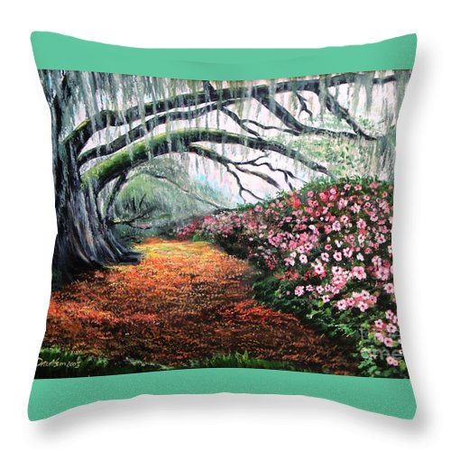 Azalea Throw Pillow featuring the painting Southern Charm Oak And Azalea by Patricia L Davidson