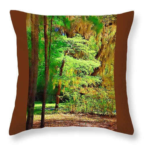 Woods Throw Pillow featuring the photograph Southern Forest by Donna Bentley