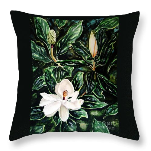 Flower Throw Pillow featuring the painting Southern Magnolia Bud And Bloom by Patricia L Davidson