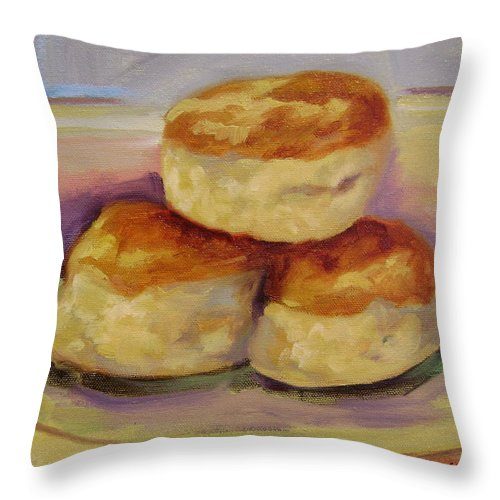 Biscuits Throw Pillow featuring the painting Southern Morning Fare by Ginger Concepcion