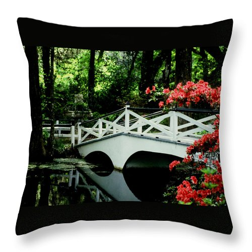White Bridge Throw Pillow featuring the photograph Southern Splendor by Gary Wonning