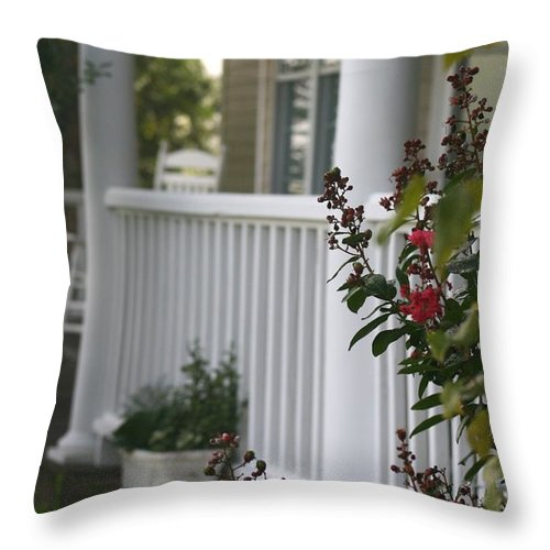 Summer Throw Pillow featuring the photograph Southern Summer Flowers And Porch by Nadine Rippelmeyer