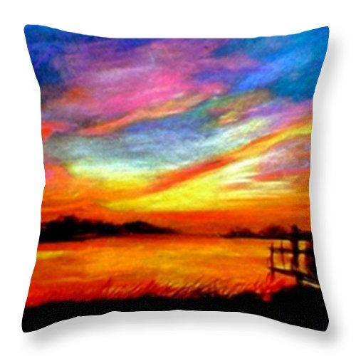 Sunset Throw Pillow featuring the painting Southern Sunset by Gail Kirtz