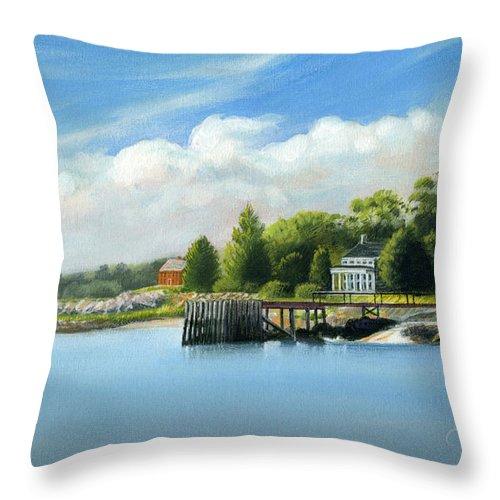 Deecken Throw Pillow featuring the painting Southport Harbor by John Deecken