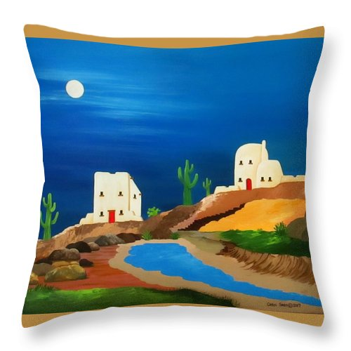 Southwest Throw Pillow featuring the painting Southwest Living by Carol Sabo