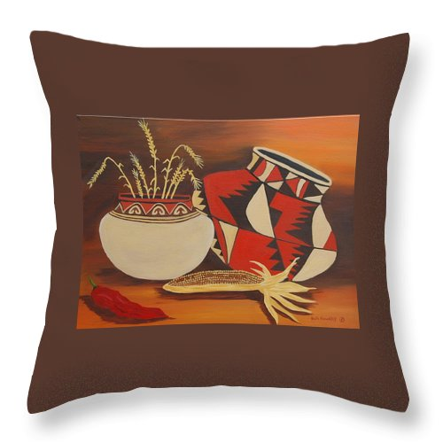 Still Life Throw Pillow featuring the painting Southwest Pottery by Ruth Housley