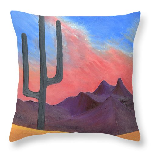 Cactus Throw Pillow featuring the painting Southwest Scene by J R Seymour