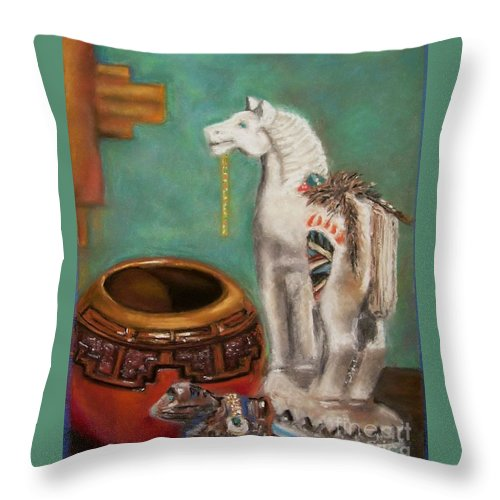 Southwest Art Throw Pillow featuring the painting Southwest Treasures by Frances Marino
