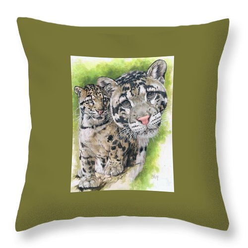Clouded Leopard Throw Pillow featuring the mixed media Sovereignty by Barbara Keith