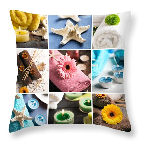 Vadim Goodwill Throw Pillow featuring the photograph Spa Still Life Collage With Towel, Candles And Flowers by Vadim Goodwill
