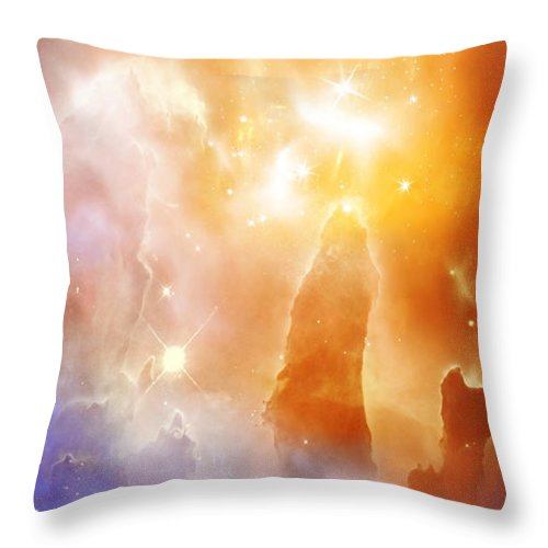 Abstract Throw Pillow featuring the digital art Space 007 by Svetlana Sewell
