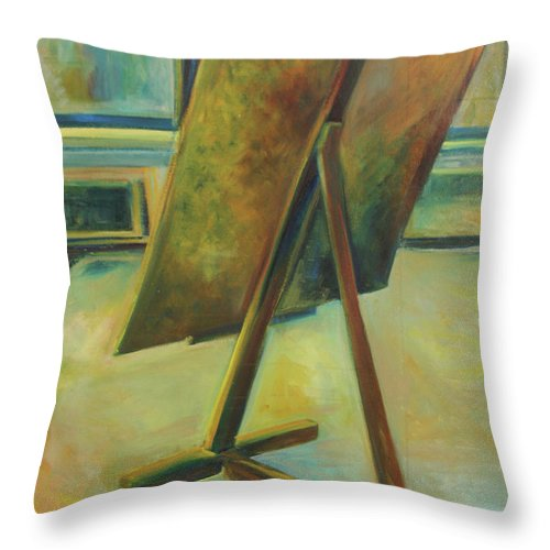 Oil Painting Throw Pillow featuring the painting Space Filled And Empty by Daun Soden-Greene