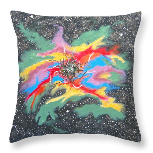 Space Throw Pillow featuring the painting Space Garden by V Boge