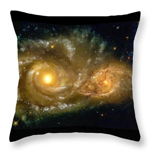 Spiral Throw Pillow featuring the photograph Space Image Spiral Galaxy Encounter by Matthias Hauser