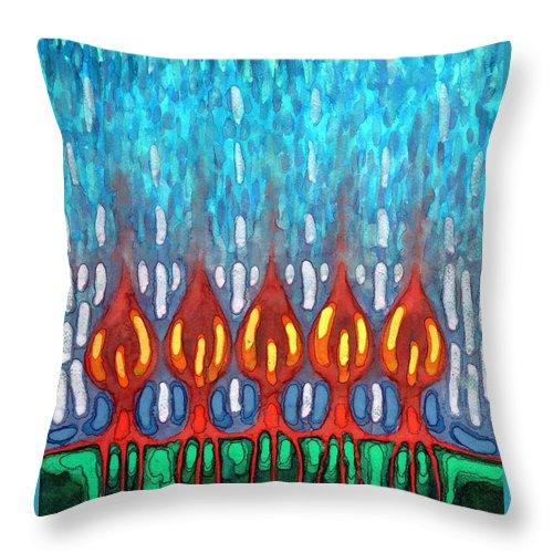 Colour Throw Pillow featuring the painting Space Rain by Wojtek Kowalski