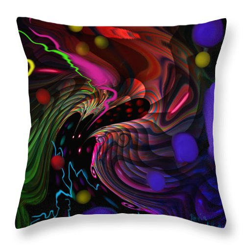 Outer Space Throw Pillow featuring the painting Space Rocks by Kevin Caudill