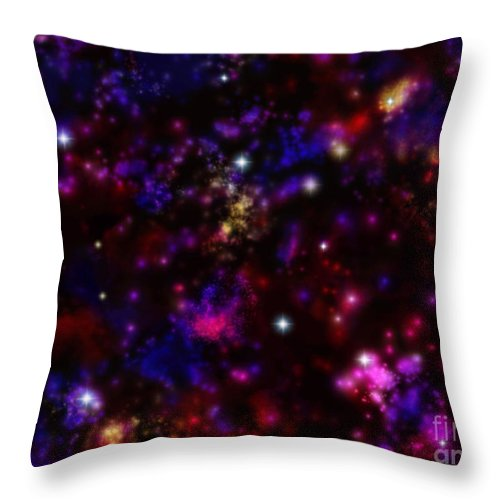 Space Throw Pillow featuring the painting Space Walk Fantasy by Roxy Riou