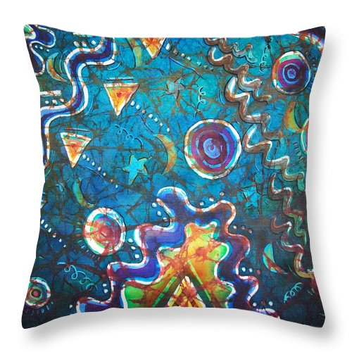 Space Throw Pillow featuring the painting Spacious Skies by Sue Duda