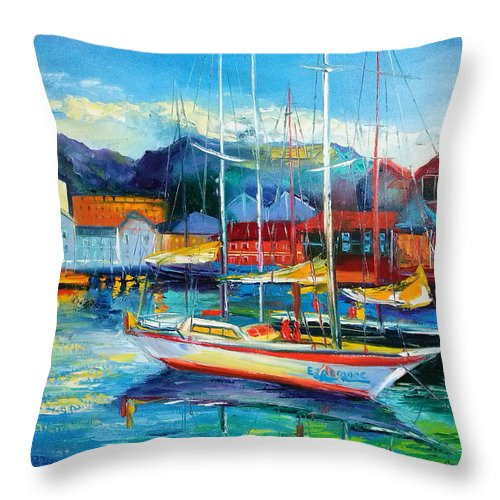Spain Boats Throw Pillow featuring the painting Spain Boats by Olha Darchuk