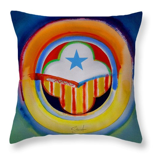 Button Throw Pillow featuring the painting Spanish American by Charles Stuart