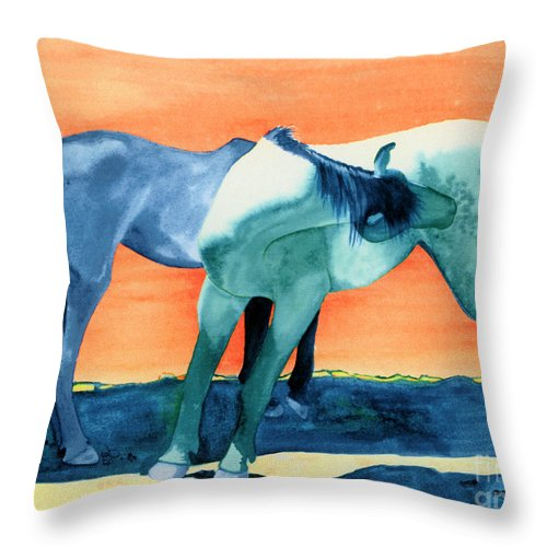 Horse Throw Pillow featuring the painting Spanish Barbs by Tracy L Teeter