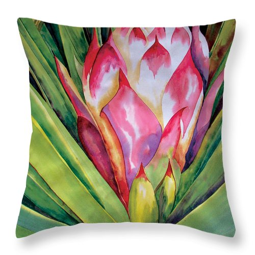 Floral Painting Throw Pillow featuring the painting Spanish Dagger Iv by Kandyce Waltensperger