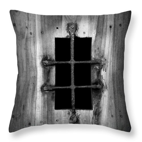 Door Throw Pillow featuring the photograph Spanish Fort Window by Perry Webster