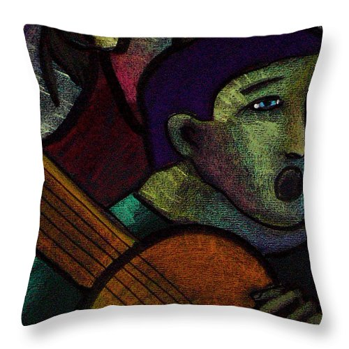 Music Throw Pillow featuring the painting Spanish Guitarist by Angelina Marino