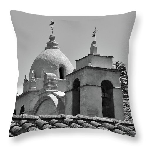 Spanish Mission Carmel By The Sea California Throw Pillow featuring the photograph Spanish Mission by Michael Wirmel